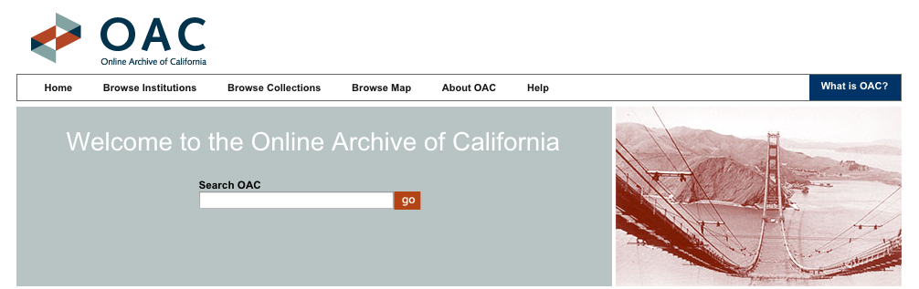 Banner image of Online Archive of California's logo and search bar.