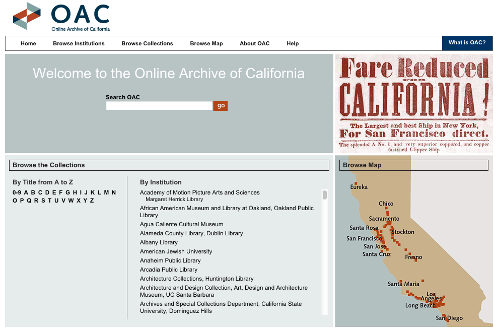 Image of OAC's landing page with three columns of browsing functions.