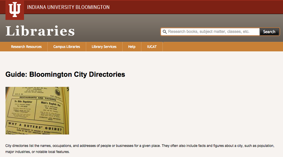 Bloomington City Directories Finding Guide